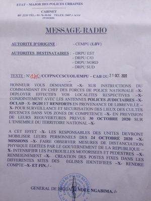 Le message radio d'un officier supérieur à ses troupes.
